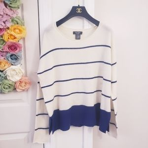 NWOT Lord's Taylor 100% Cashmere Stripe Sweater L